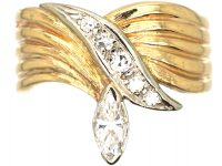 18ct Gold Stylised Snake Ring set with a Marquise Diamond
