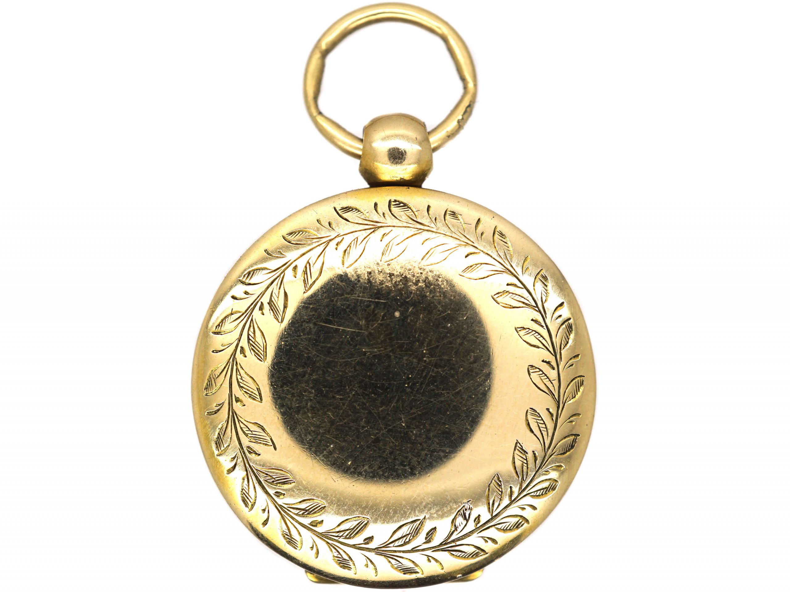 Georgian 15ct Gold Round Locket with Laurel Motif