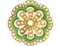 Edwardian 15ct Gold, Green Enamel & Natural Split Pearls Flower Pendant & Brooch