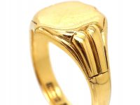 18ct Gold Signet Ring with Shield Motif by Charles Green & Co