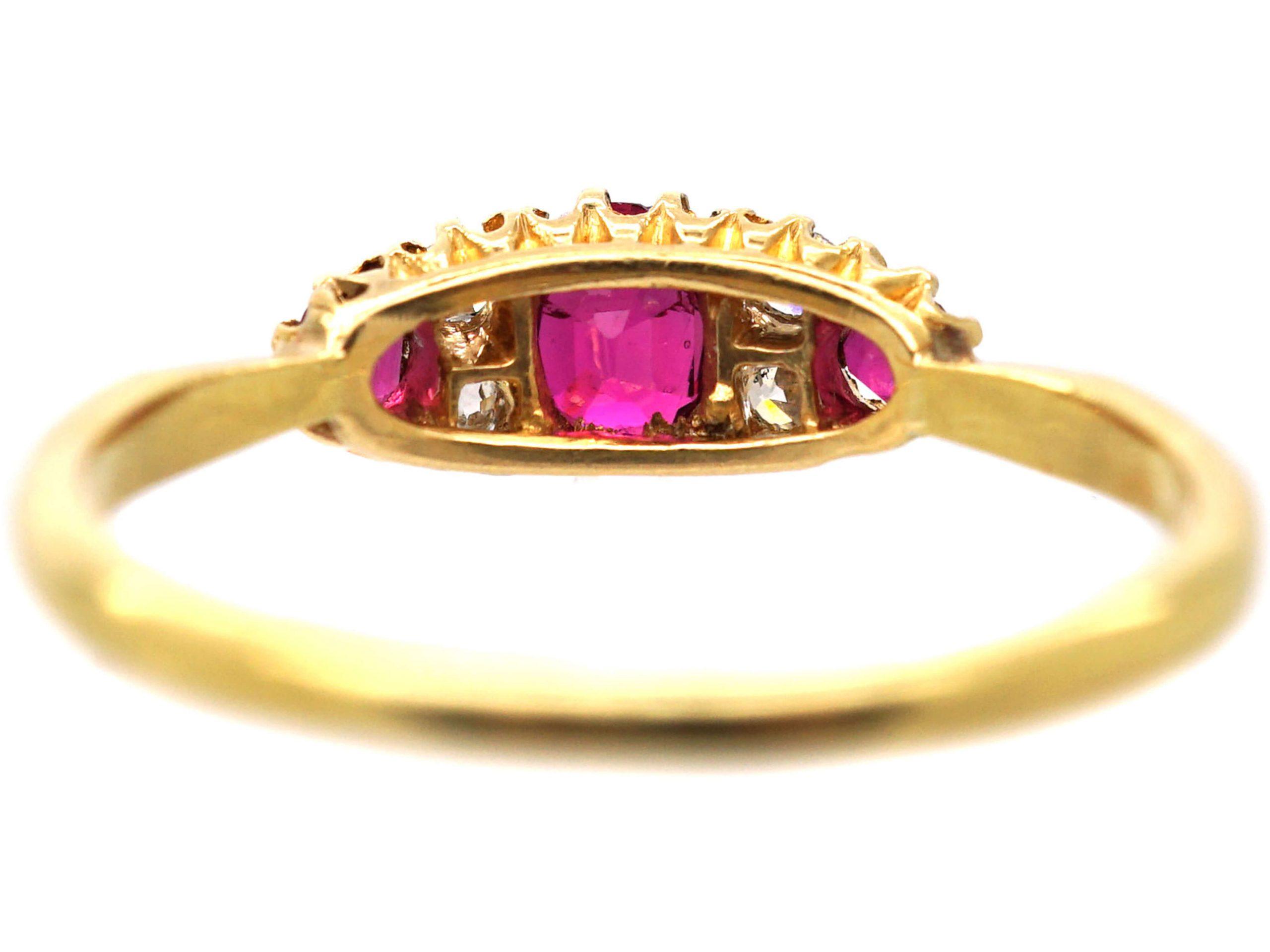 Edwardian 18ct Gold, Ruby & Diamond Three Stone Boat Shaped Ring