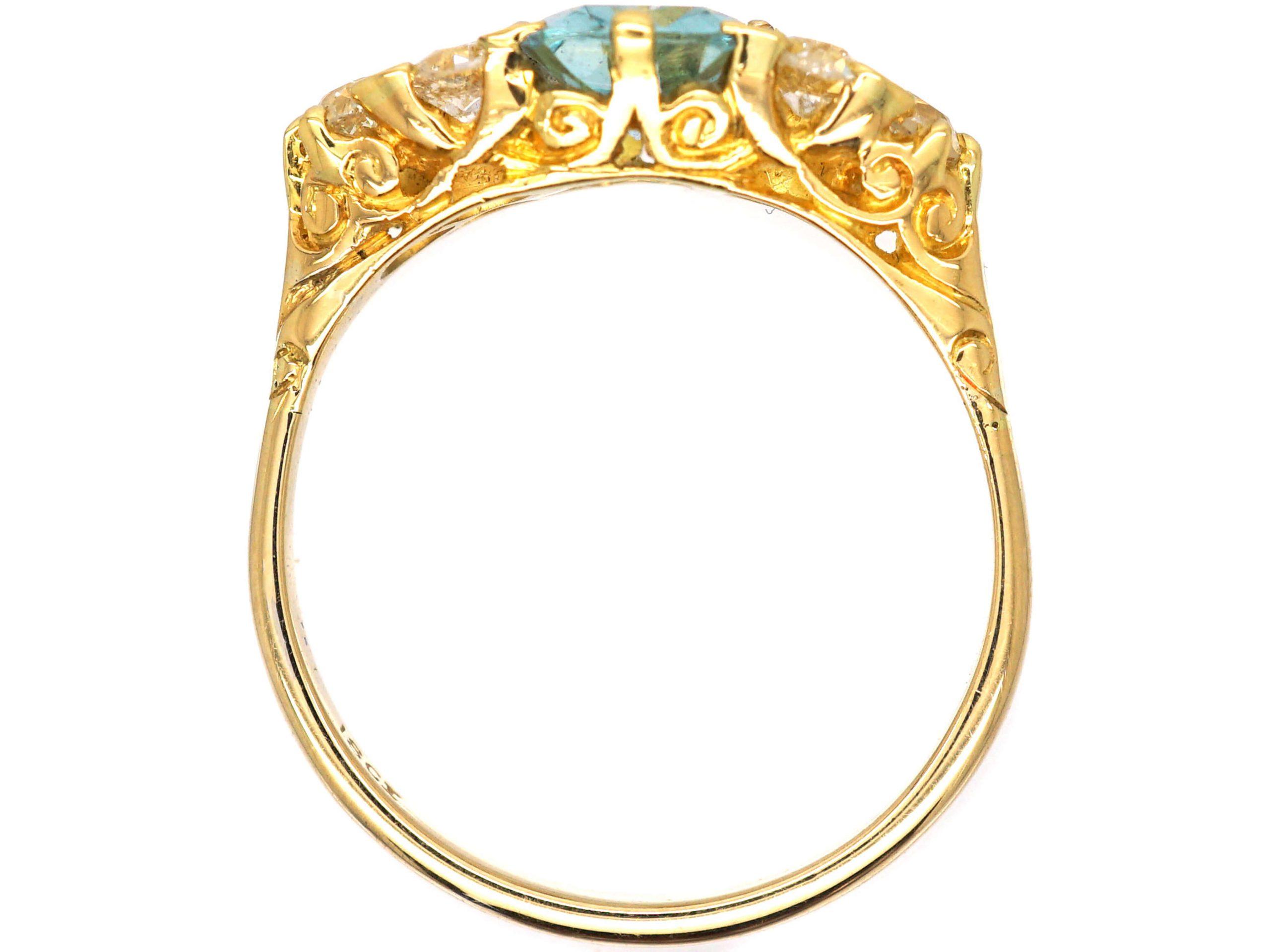 Edwardian 18ct Gold, Aquamarine & Old Mine Cut Diamond Ring