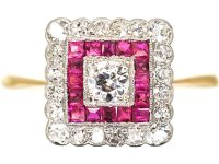 Art Deco 18ct Gold & Platinum, Square Shaped Ring set with Diamonds & Rubies