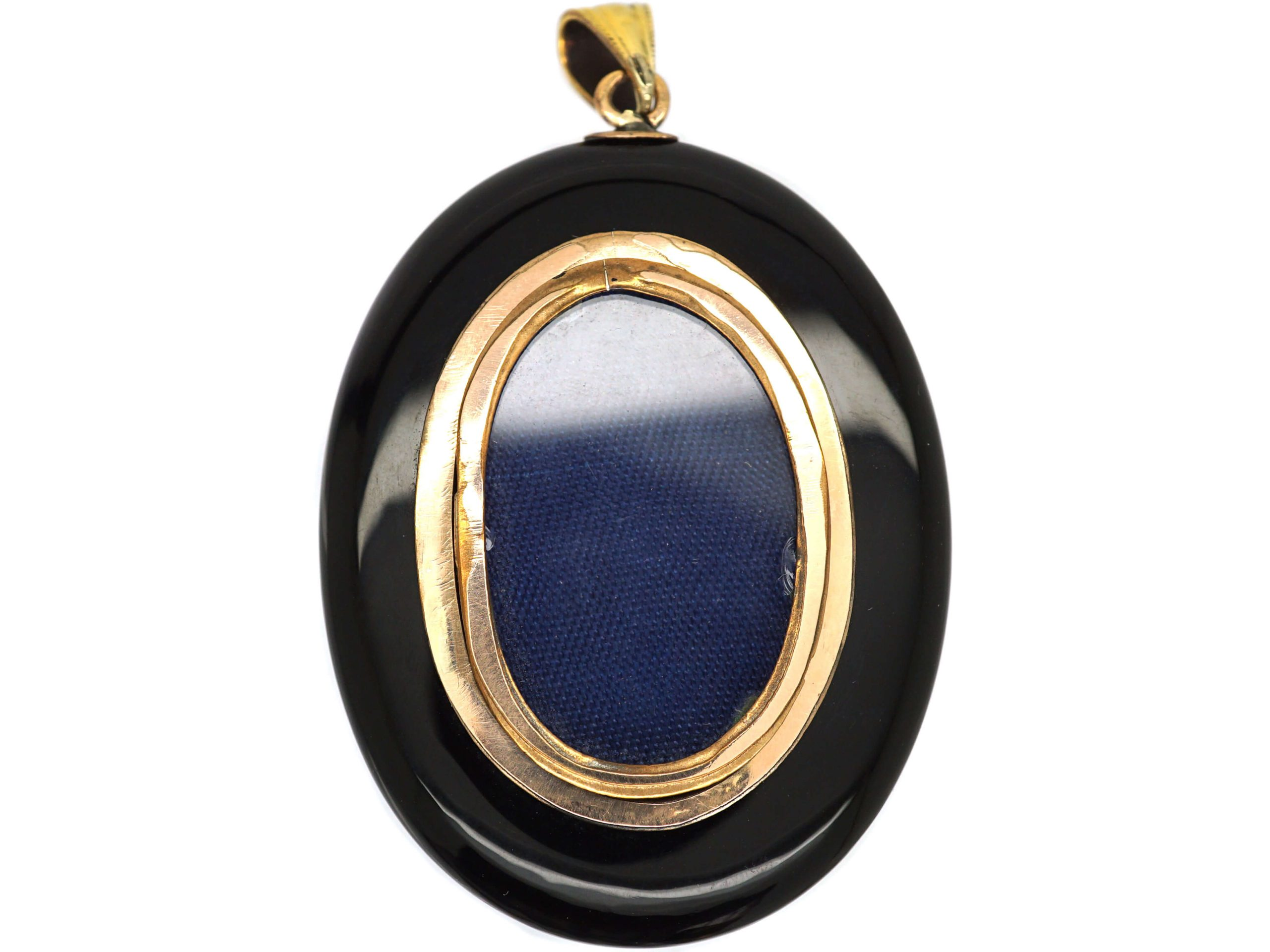 Victorian 15ct Gold Locket with Onyx, Rose Diamond & Pearl Flower Detail