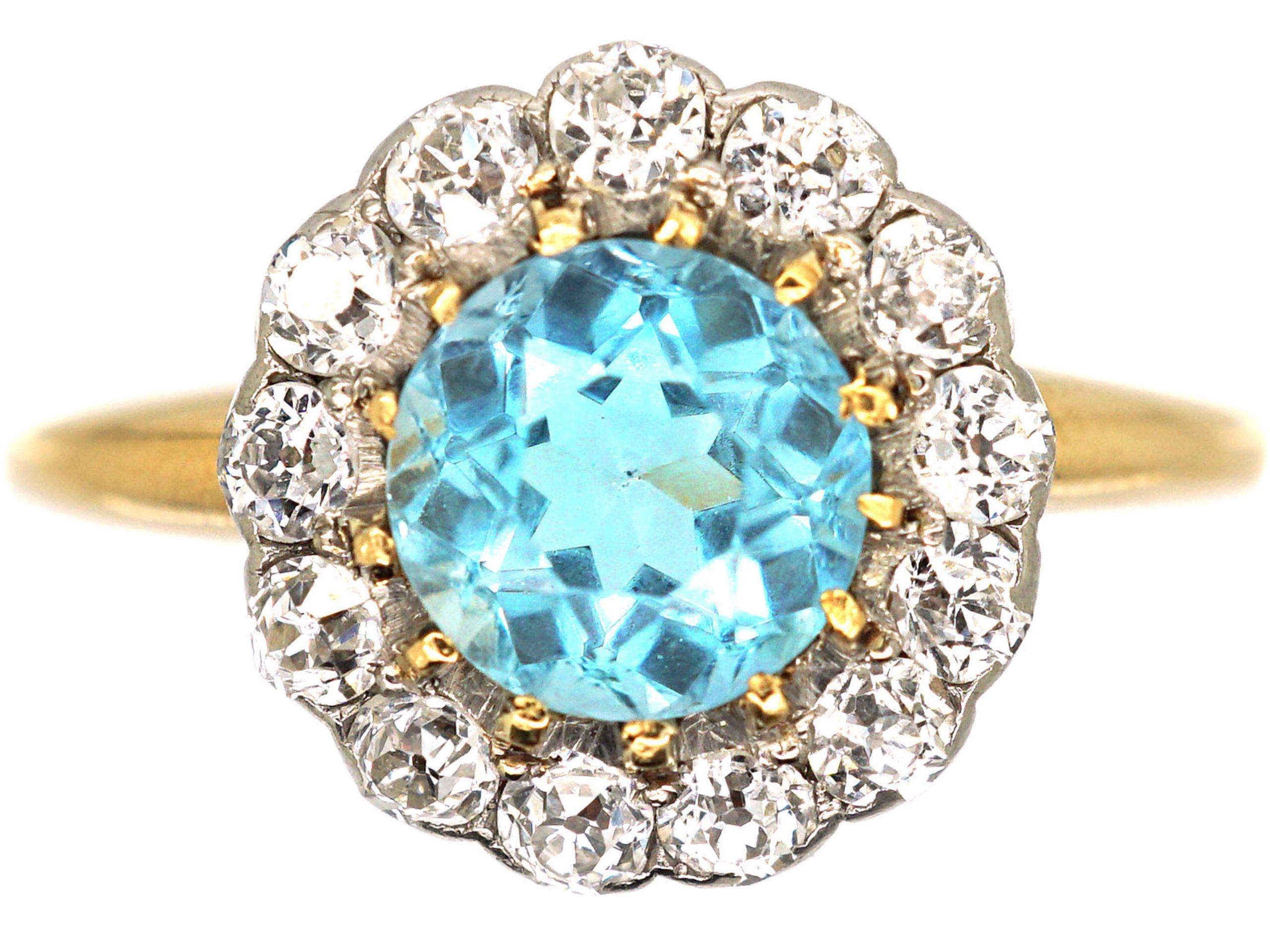 Edwardian 18ct Gold & Platinum, Aquamarine & Diamond Cluster Ring