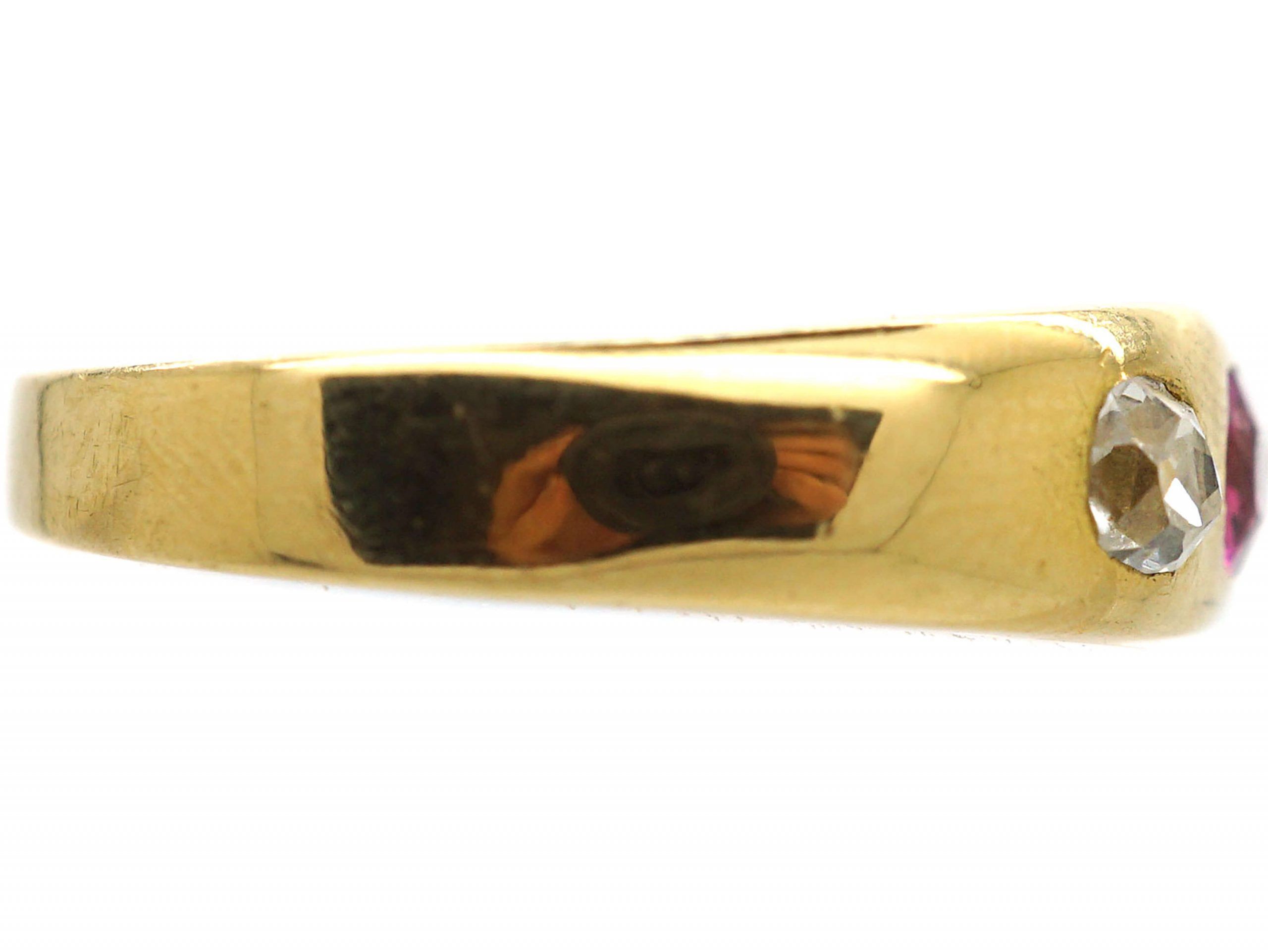 Edwardian 18ct Gold, Pink Sapphire & Diamond Three Stone Rub Over Ring