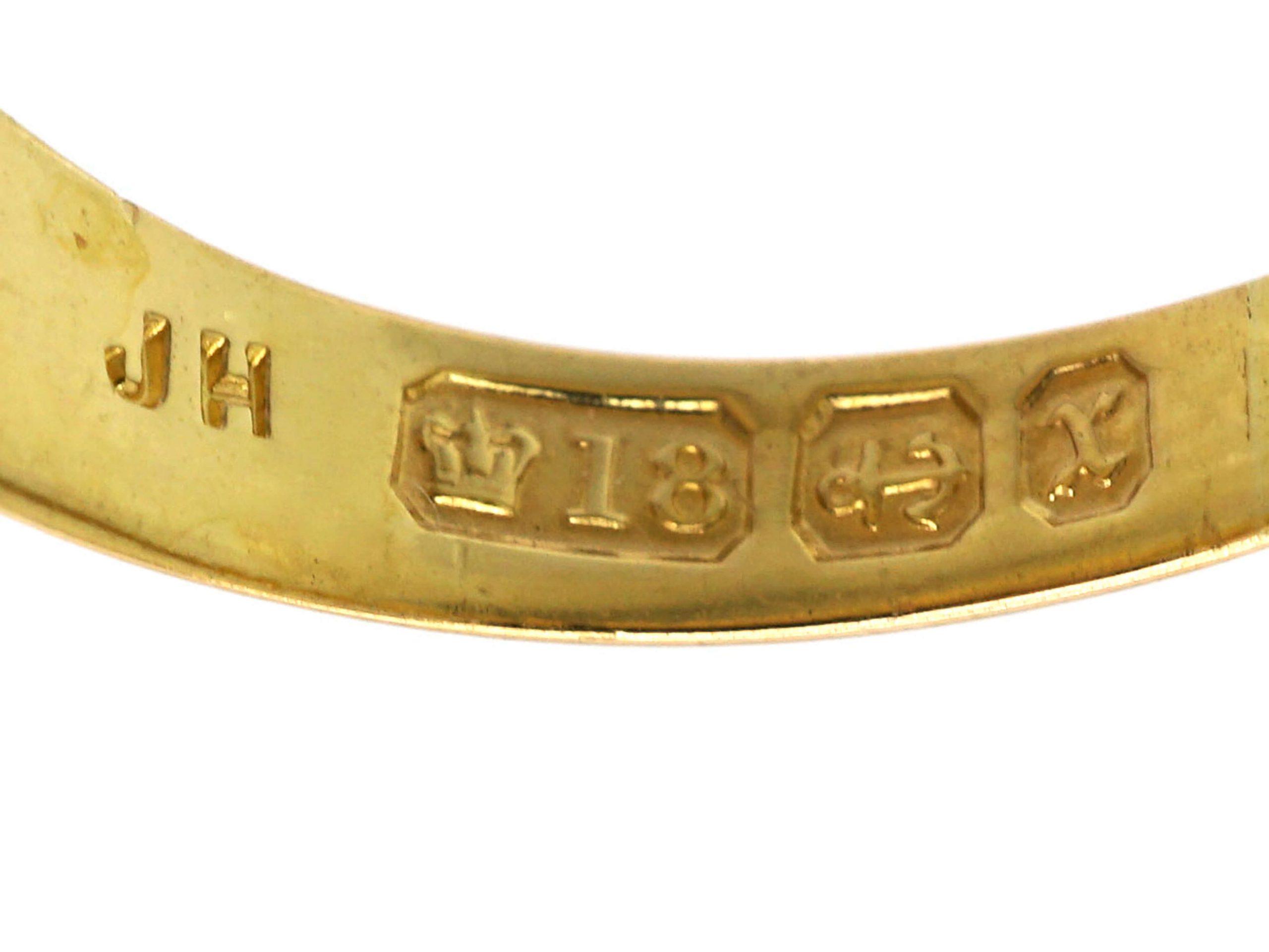 Victorian 18ct Gold, Three Stone Diamond Gypsy Ring