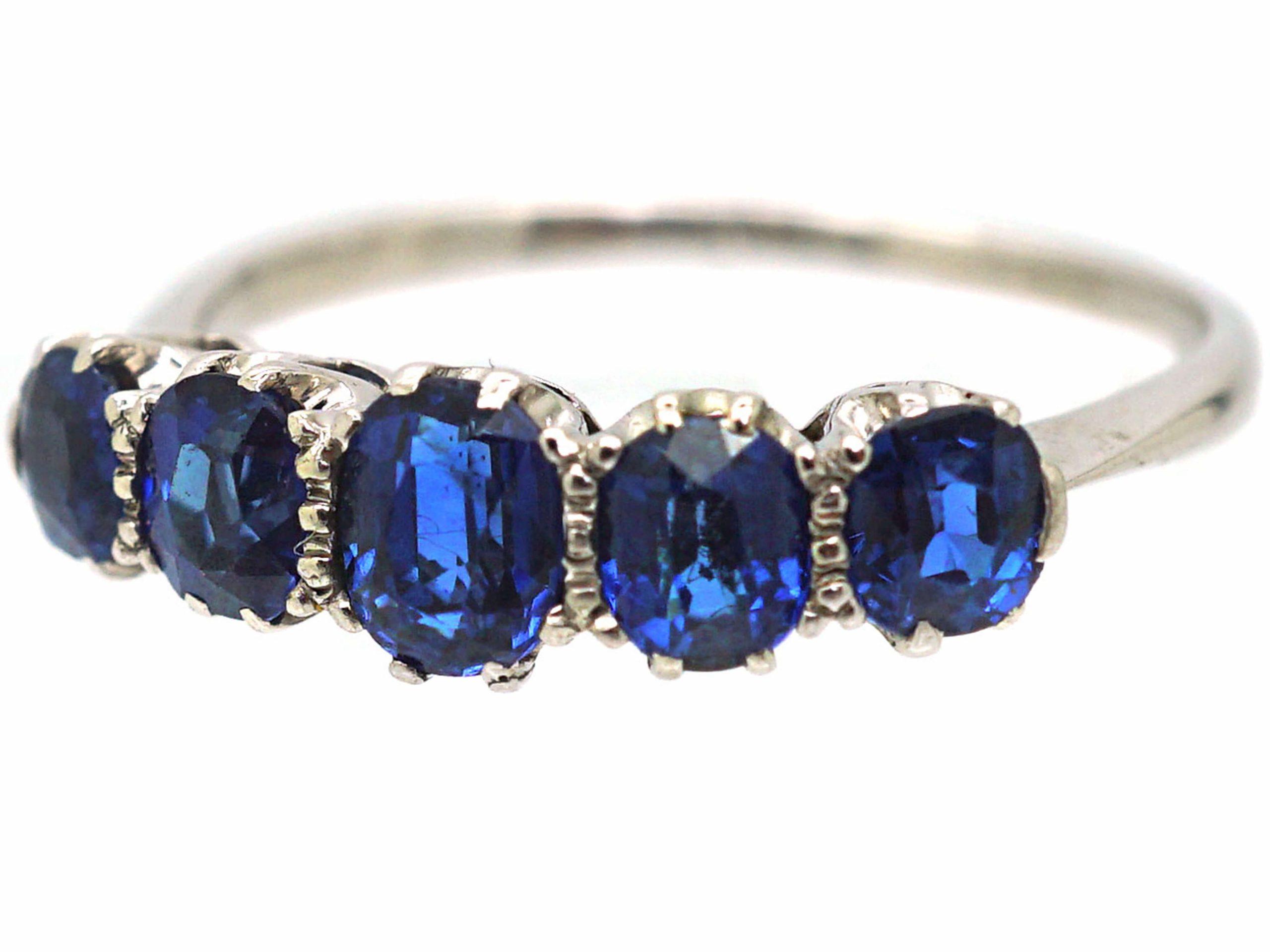 Art Deco Platinum, Five Stone Sapphire Ring