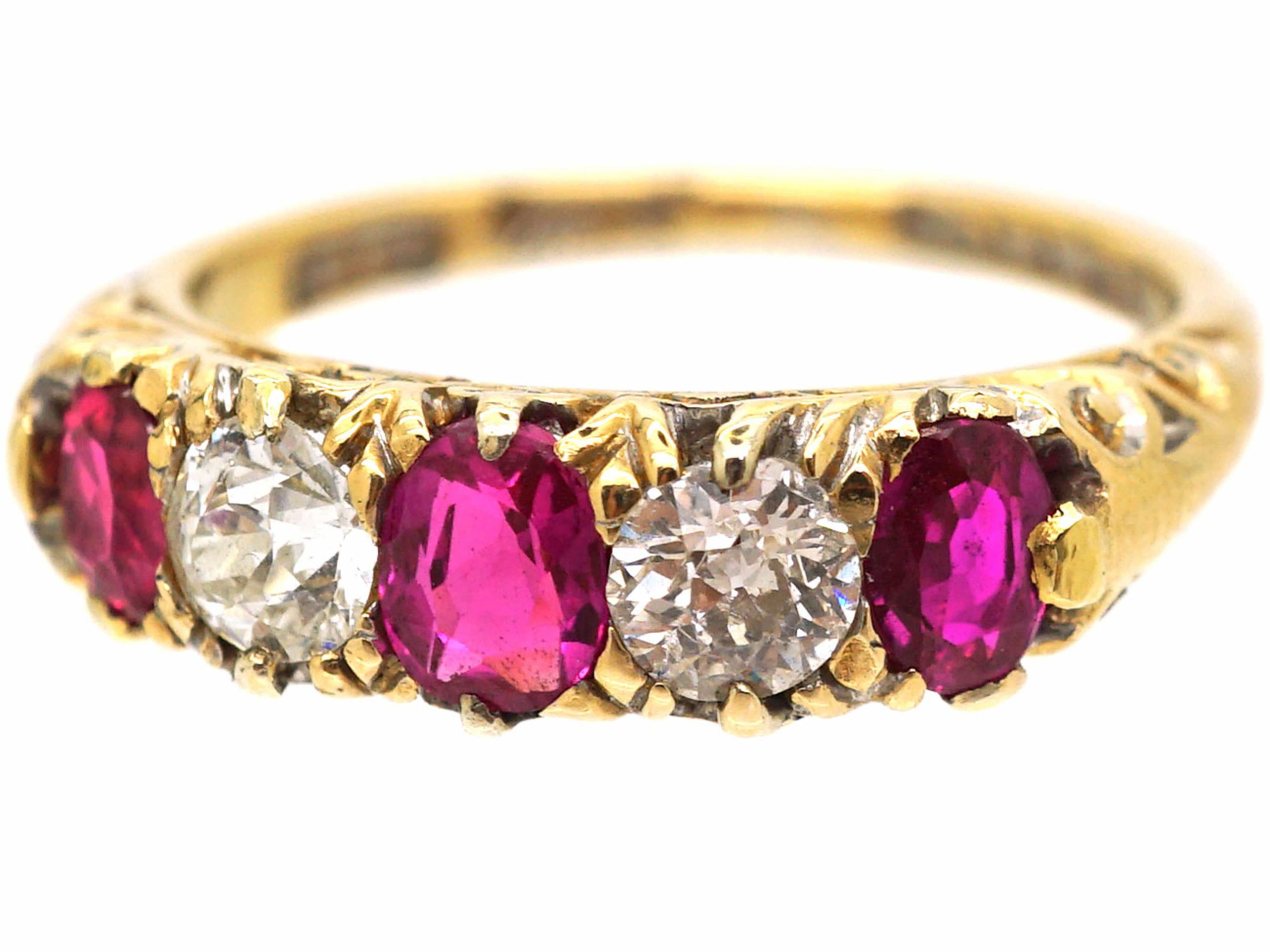 Victorian 18ct Gold, Ruby & Diamond Carved Half Hoop Ring