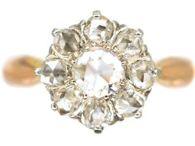 Early 20th Century 15ct Gold & Platinum, Rose Diamond Daisy Cluster Ring