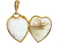 Edwardian 9ct Gold Heart Shaped Locket with Decorative Border