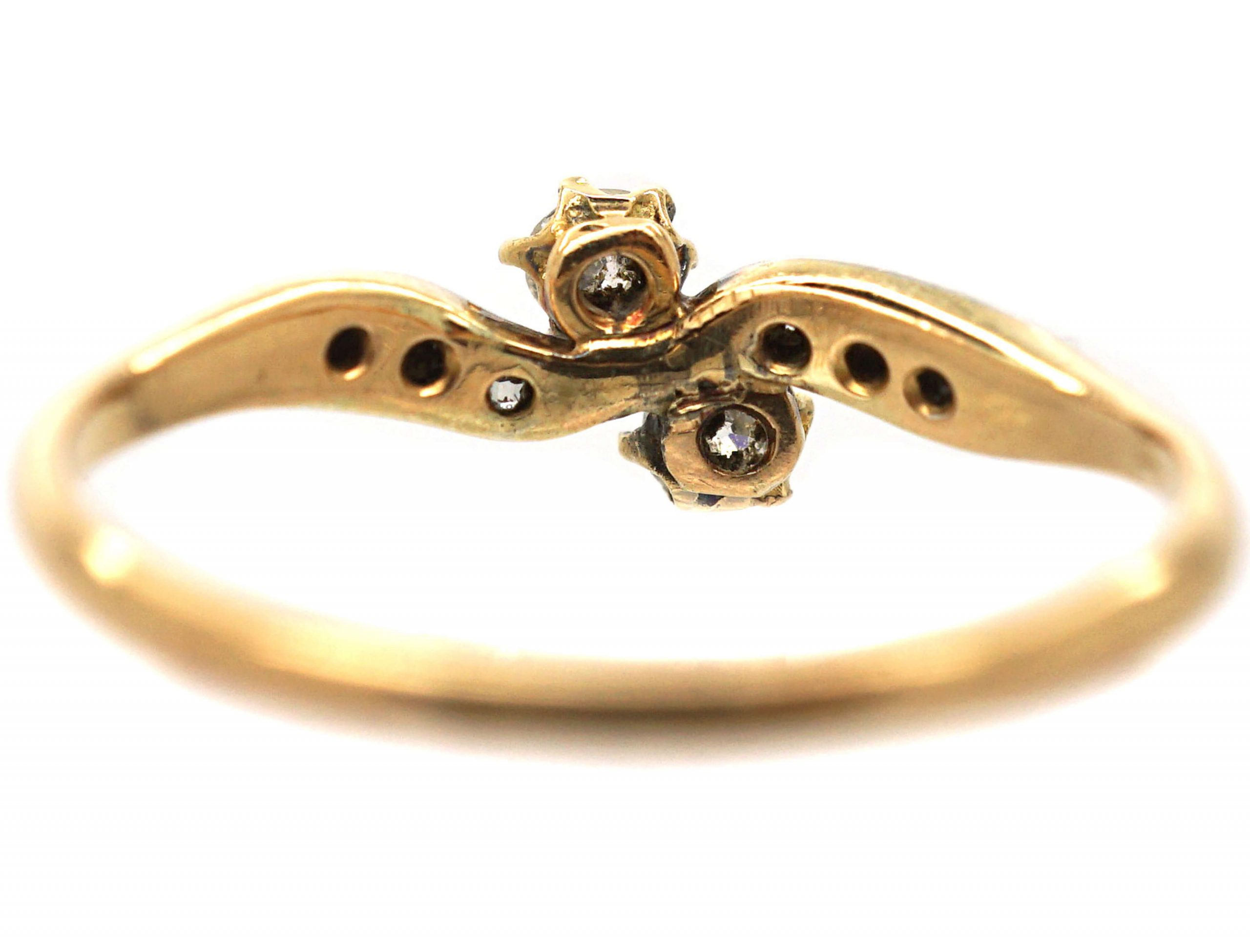 Edwardian 18ct Gold & Platinum, Two Stone Diamond Crossover Ring With Diamond Shoulders
