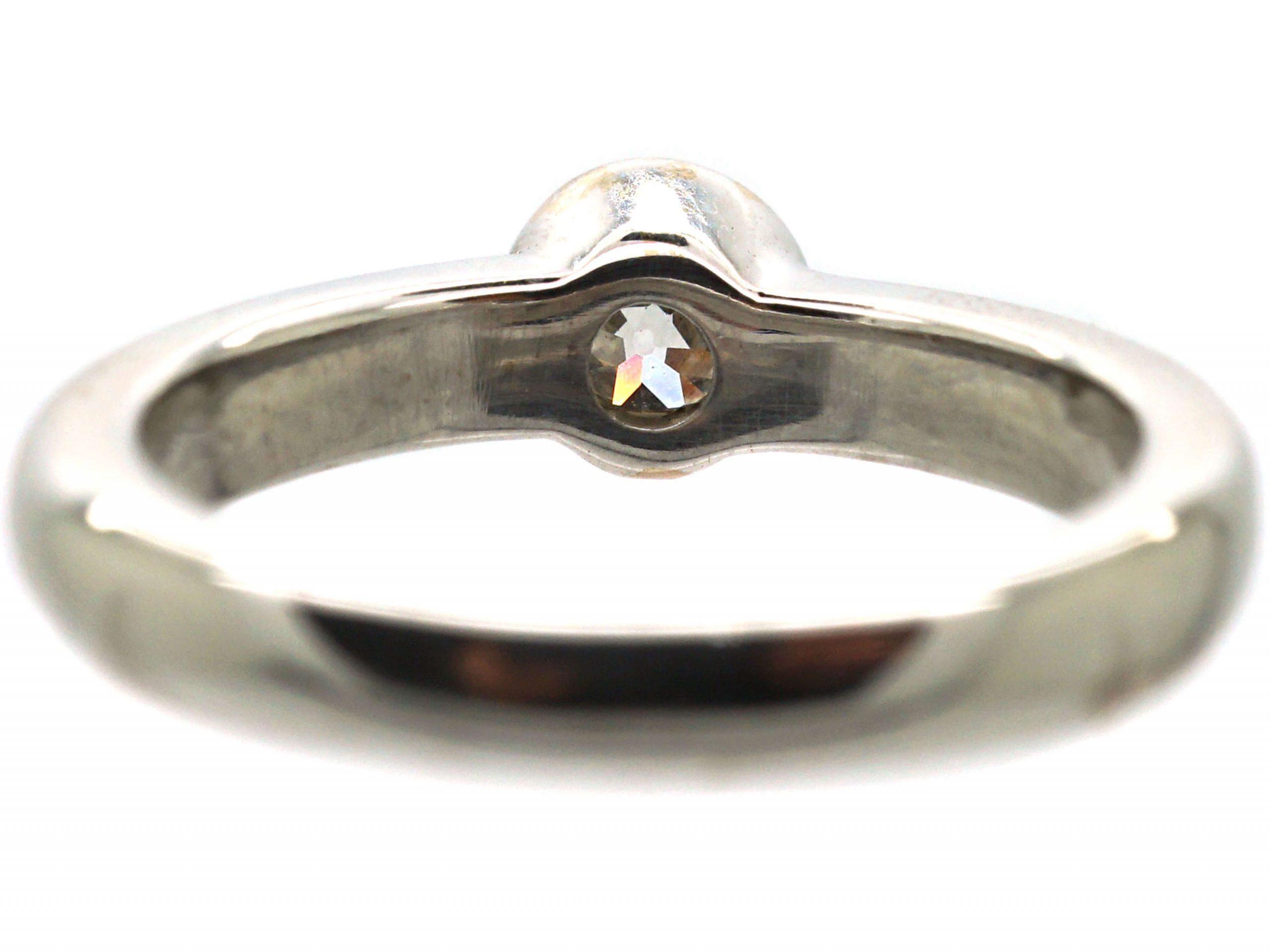 18ct White Gold Diamond Rub Over Set Solitaire Ring