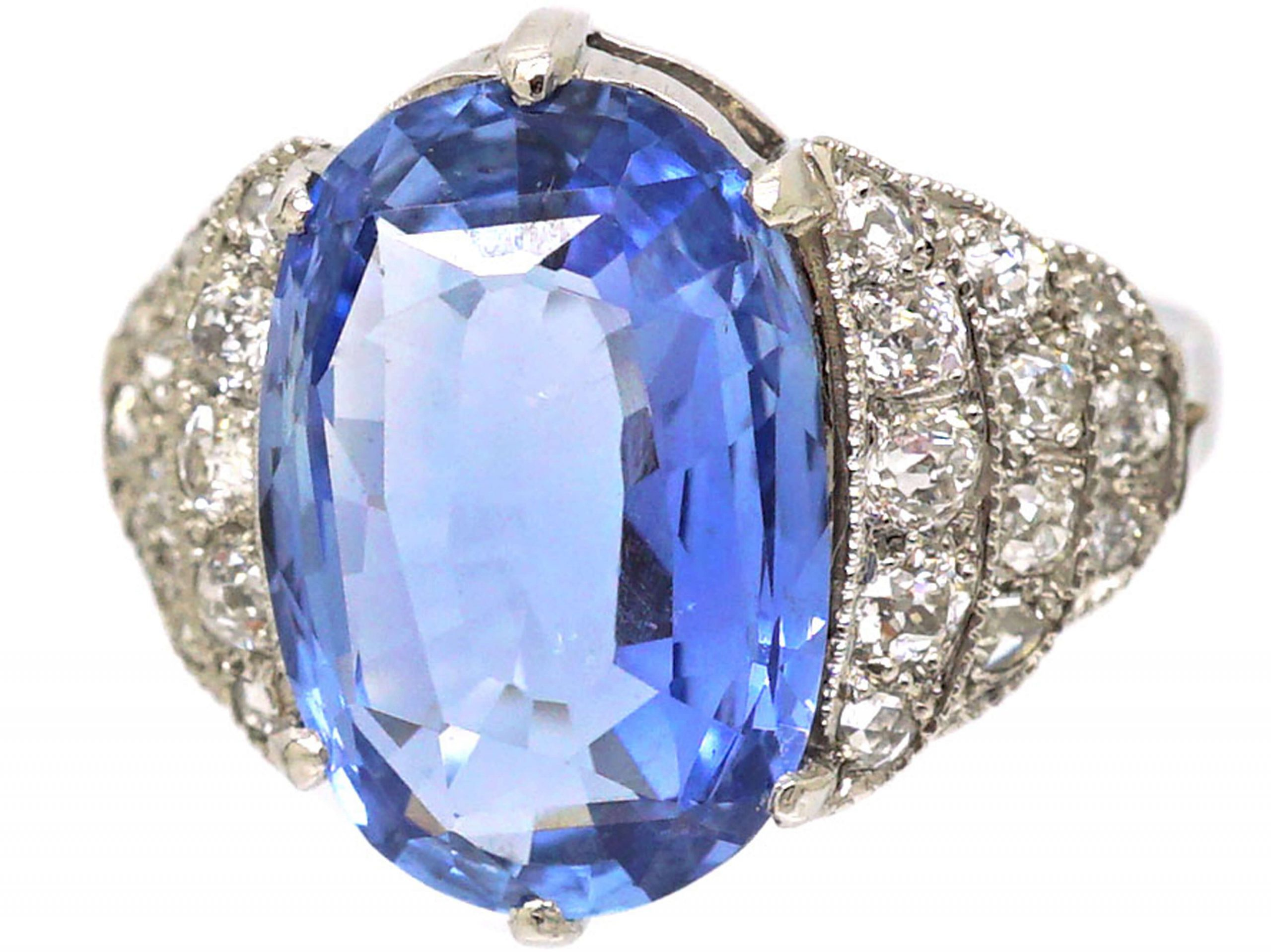 Art Deco 18ct White Gold, Large Ceylon Sapphire Ring with Old Mine Cut Stepped Shoulders
