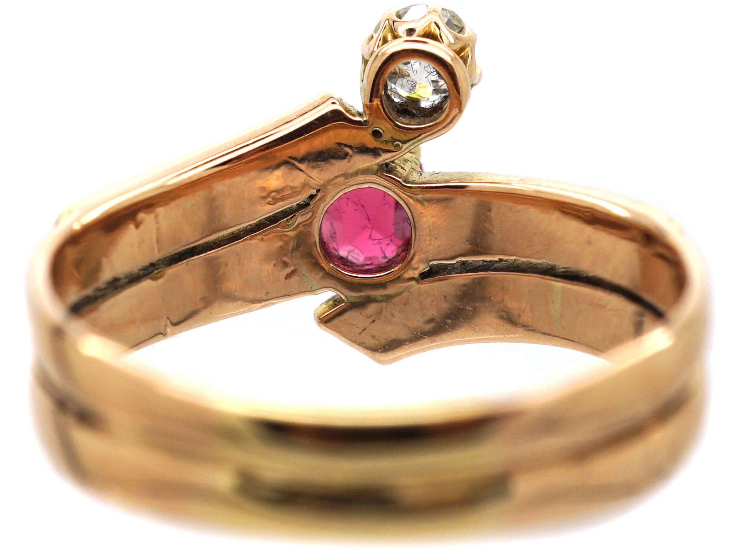 Art Deco Gold, Spinel and Rose Cut Diamond Wrap Around Ring