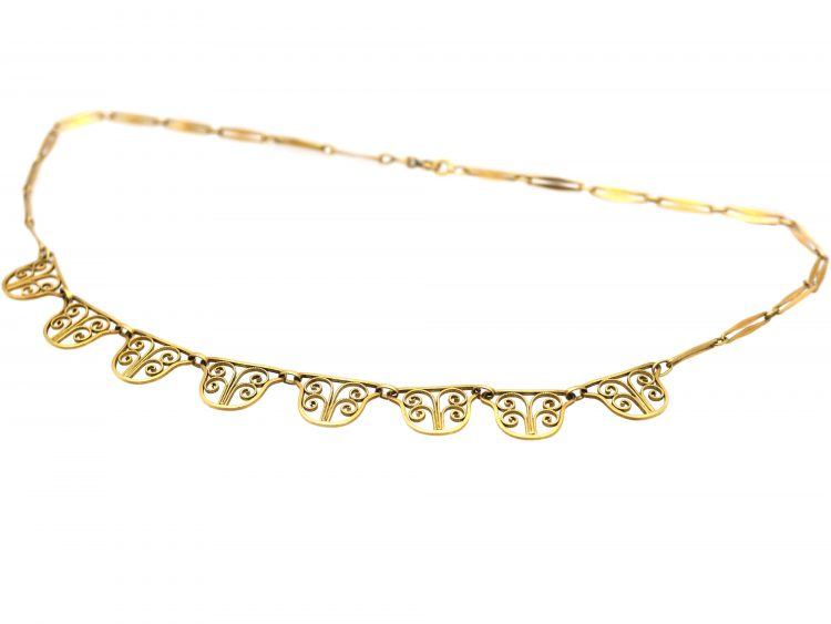 French 18ct Gold Art Deco Necklace with Seven Drops
