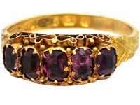 Victorian 15ct Gold, Five Stone Almandine Garnet Ring with Engraved Shank