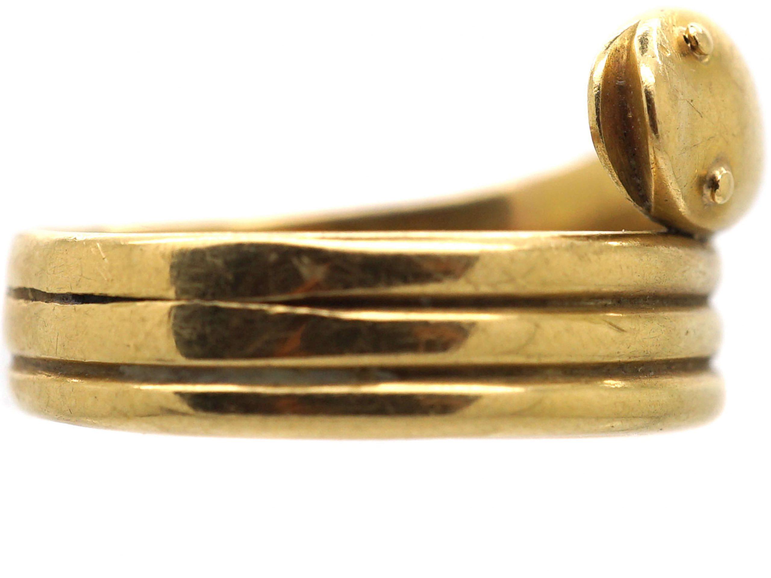 Edwardian 18ct Gold Coily Snake Ring
