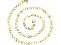 Edwardian 9ct Gold & Green Enamel Ornate Chain