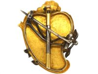 French Regency Gold, Pearl, Diamond and Enamel Heraldic Shield Brooch