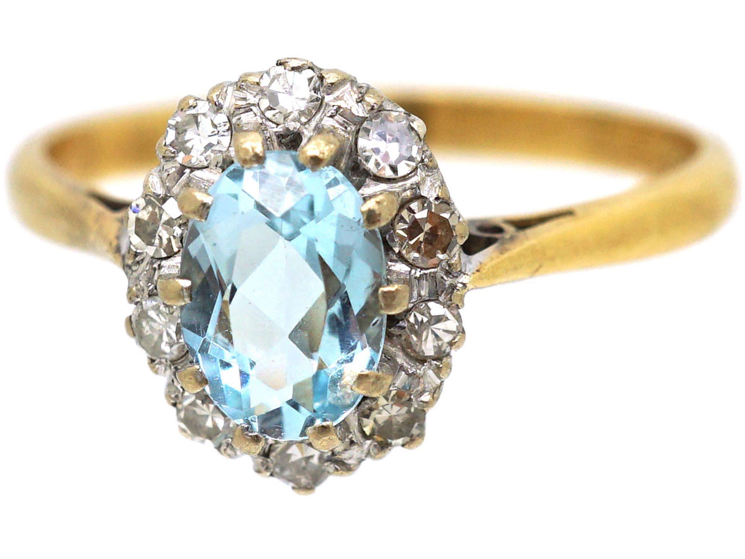 18ct Gold, Aquamarine & Diamond Oval Cluster Ring