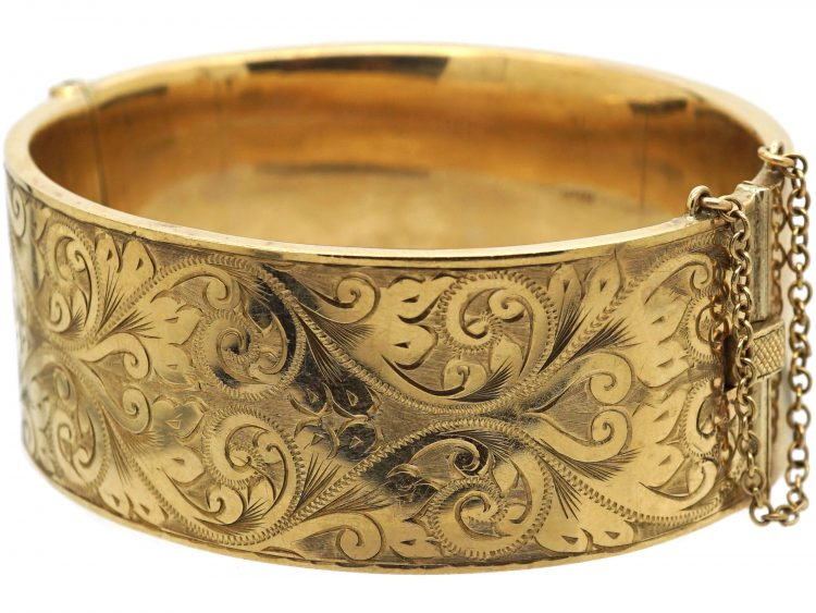 9ct Gold Wide Engraved Bangle
