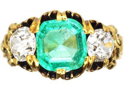 Victorian 18ct Gold, Emerald and Diamond Three Stone Ring