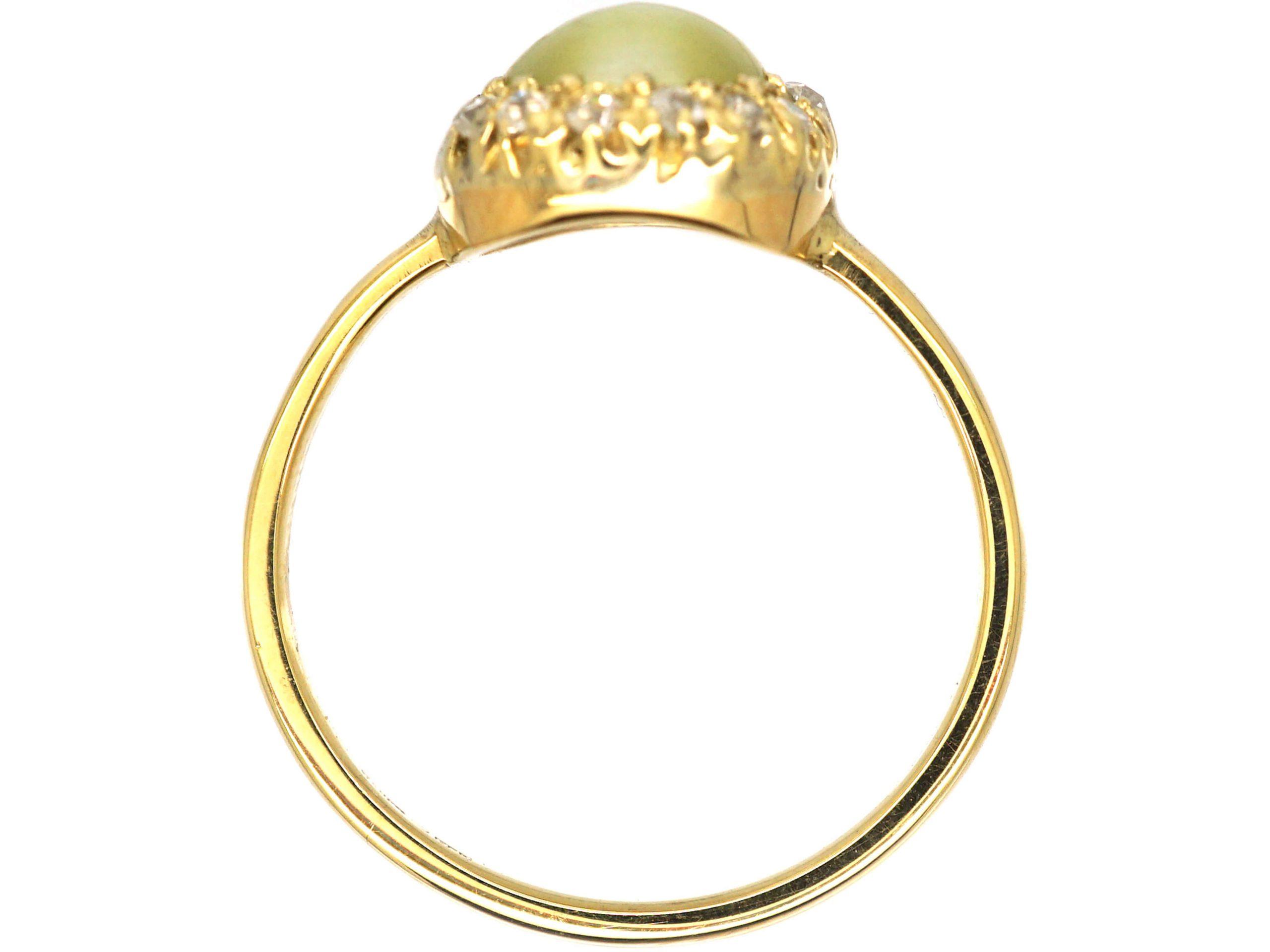 Edwardian 18ct Gold Cats-Eye Chrysoberyl & Diamond Cluster Ring