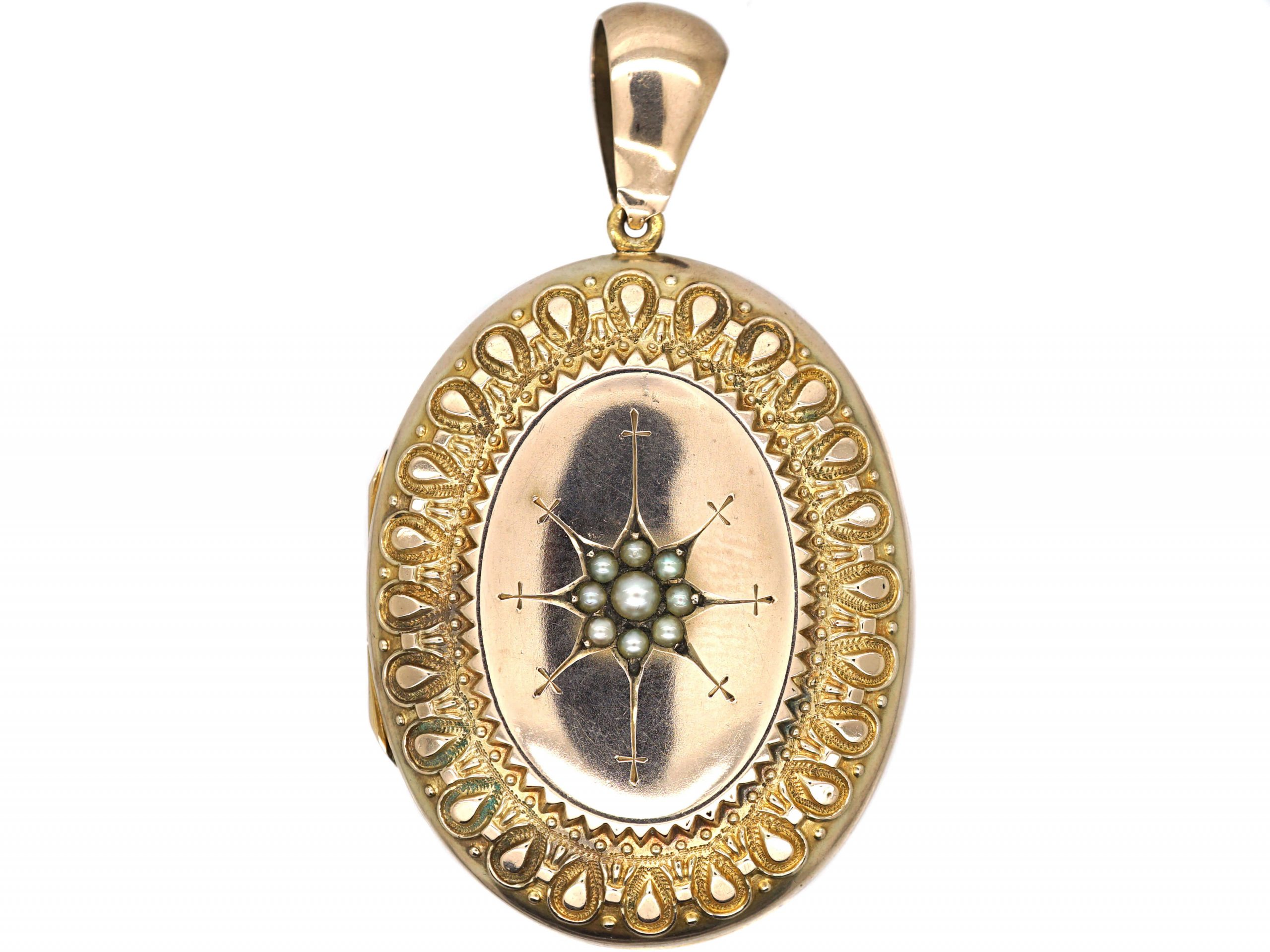 Victorian 9ct Back & Front Oval Locket with Star Motif set with Natural Split Pearls