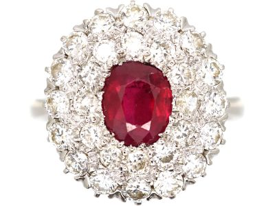 Retro 18ct White Gold, Ruby and Diamond Double Row Cluster Ring