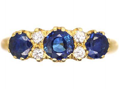 Victorian 18ct Gold Sapphire & Diamond Three Stone Ring