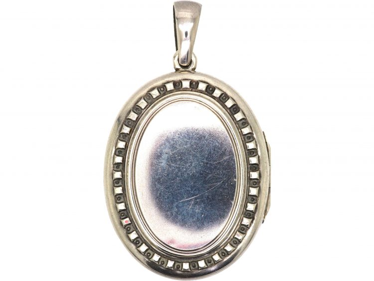 Victorian Oval Silver Locket with Hobnail Detail