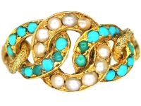 Regency 15ct Gold, Natural Split Pearl & Turquoise Circles Ring