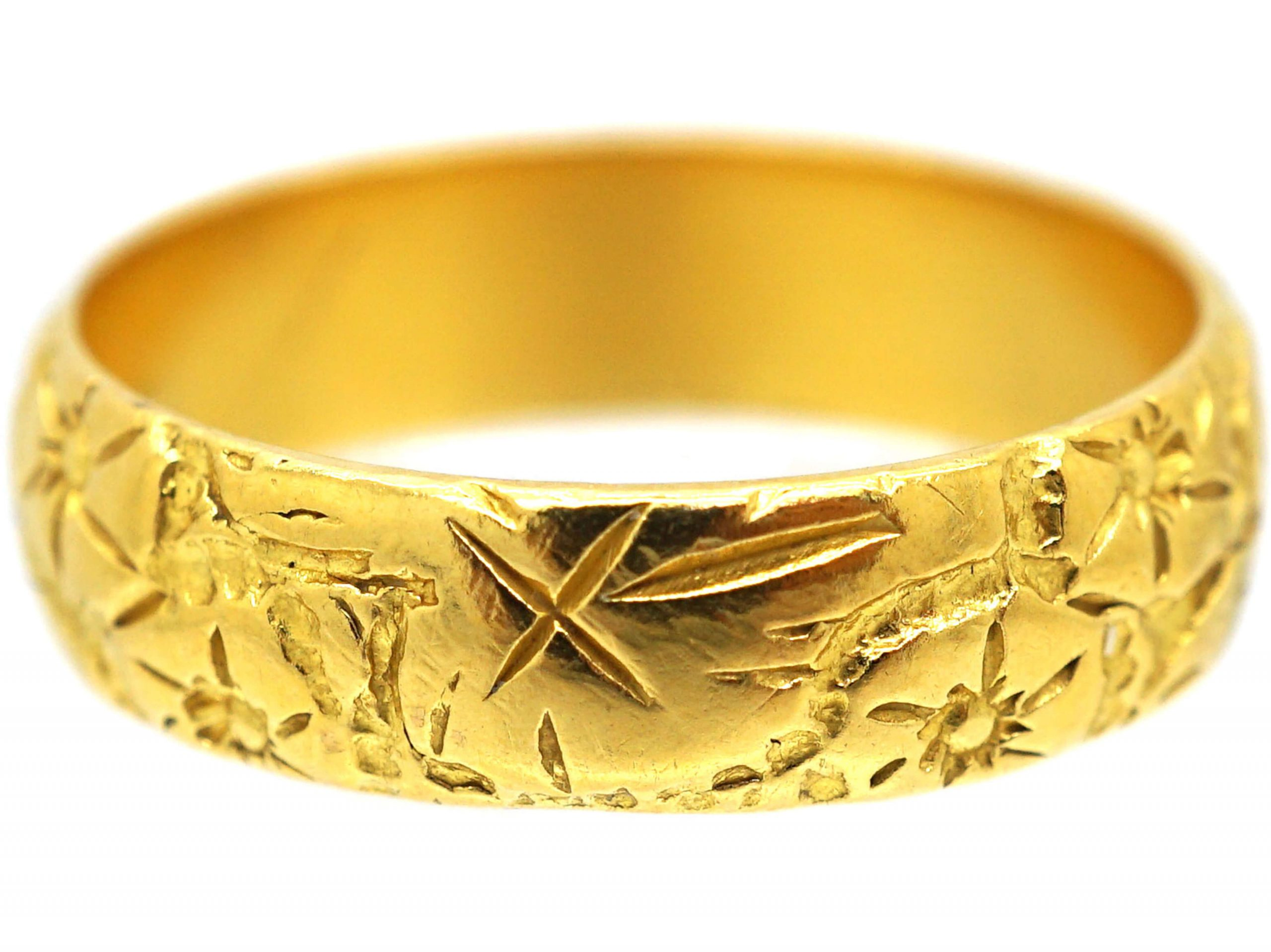 22ct Gold Wedding Roses & Ivy Leaves Ring