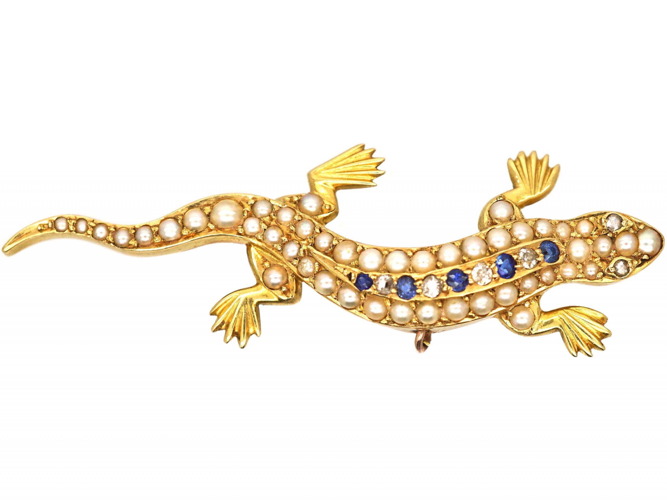Edwardian 15ct Gold, Sapphire, Diamond & Natural Split Pearl Lizard brooch