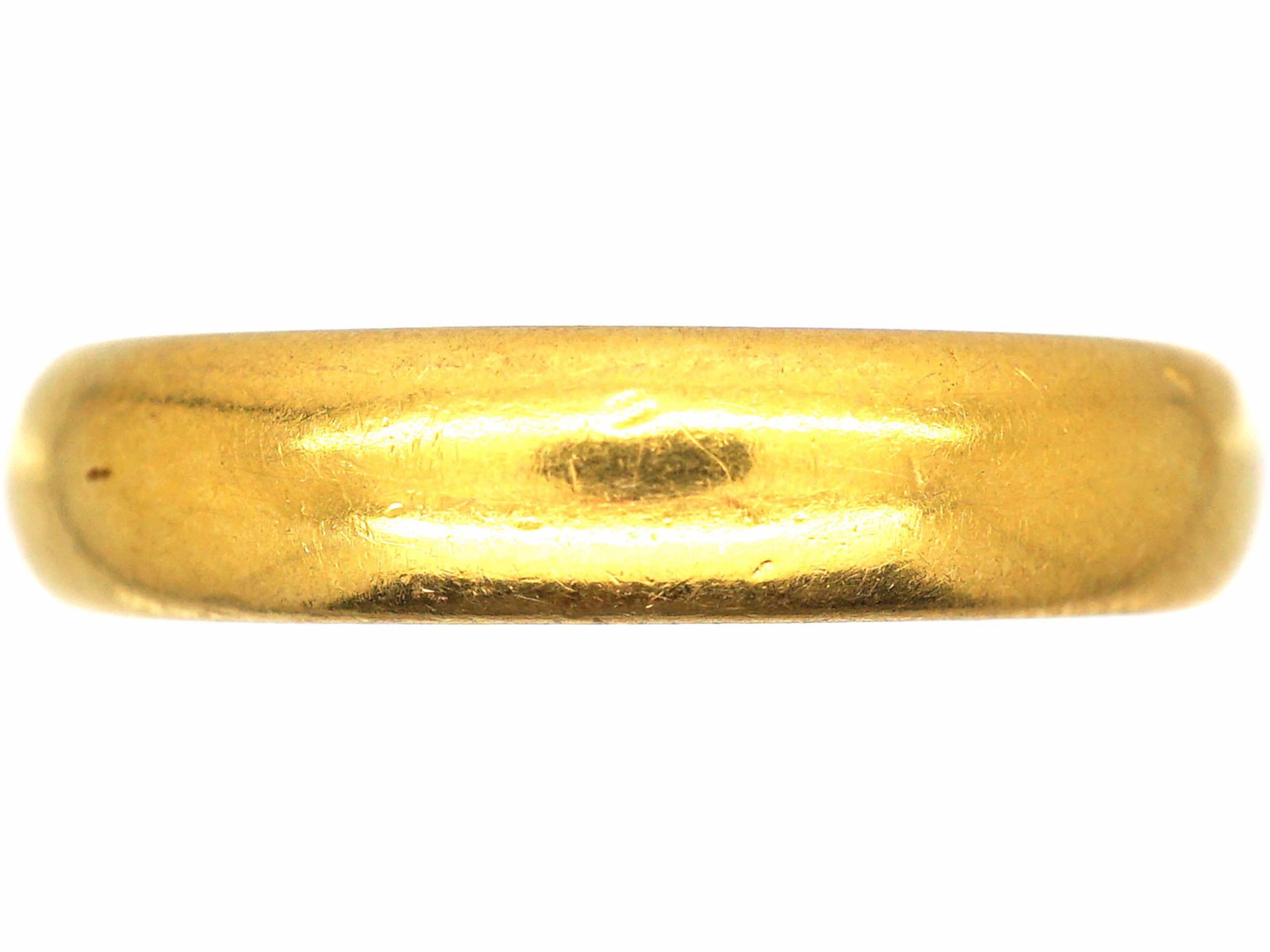 22ct Gold Wide Wedding Ring Assayed in 1929 by Charles Green & Sons