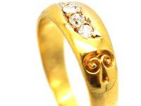 Victorian 18ct Gold, Five Stone Diamond Scroll Design Ring