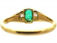 Victorian 18ct Gold, Emerald & Diamond Ring with Rose Diamond Detail