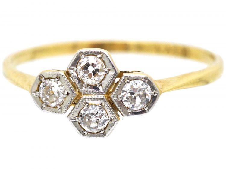 Art Deco 18ct Gold & Platinum, Four Stone Diamond Ring with Hexagonal Settings