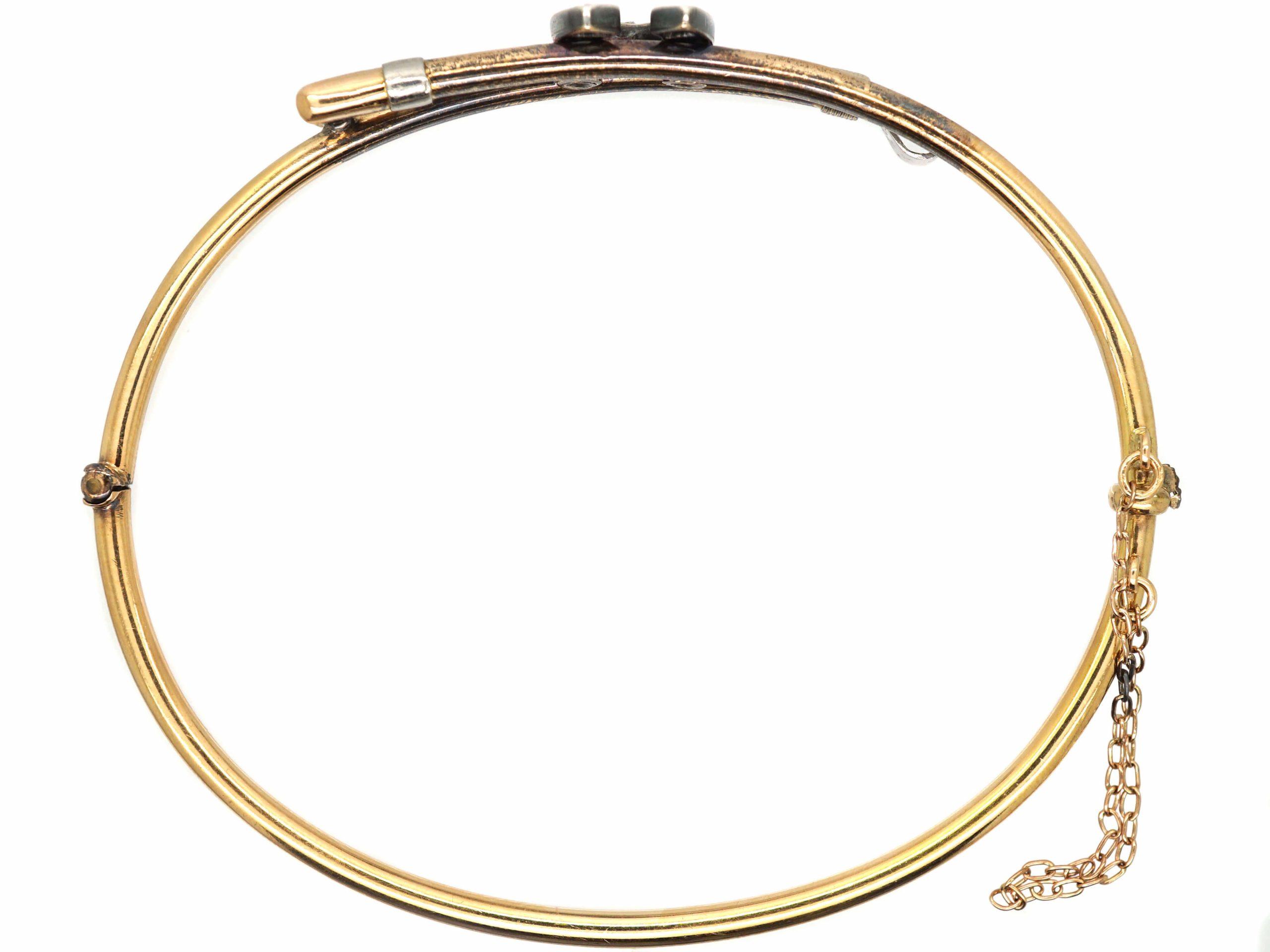 Edwardian 15ct Gold & Silver, Crop & Horseshoe Bangle set with Diamonds