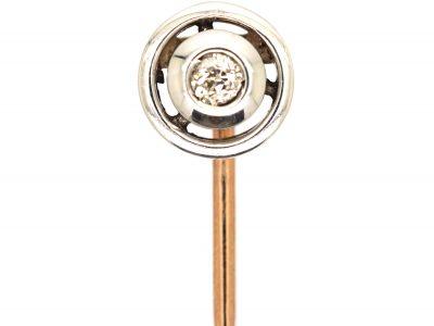 Art Deco 15ct Gold, Platinum & Diamond Round Tie Pin
