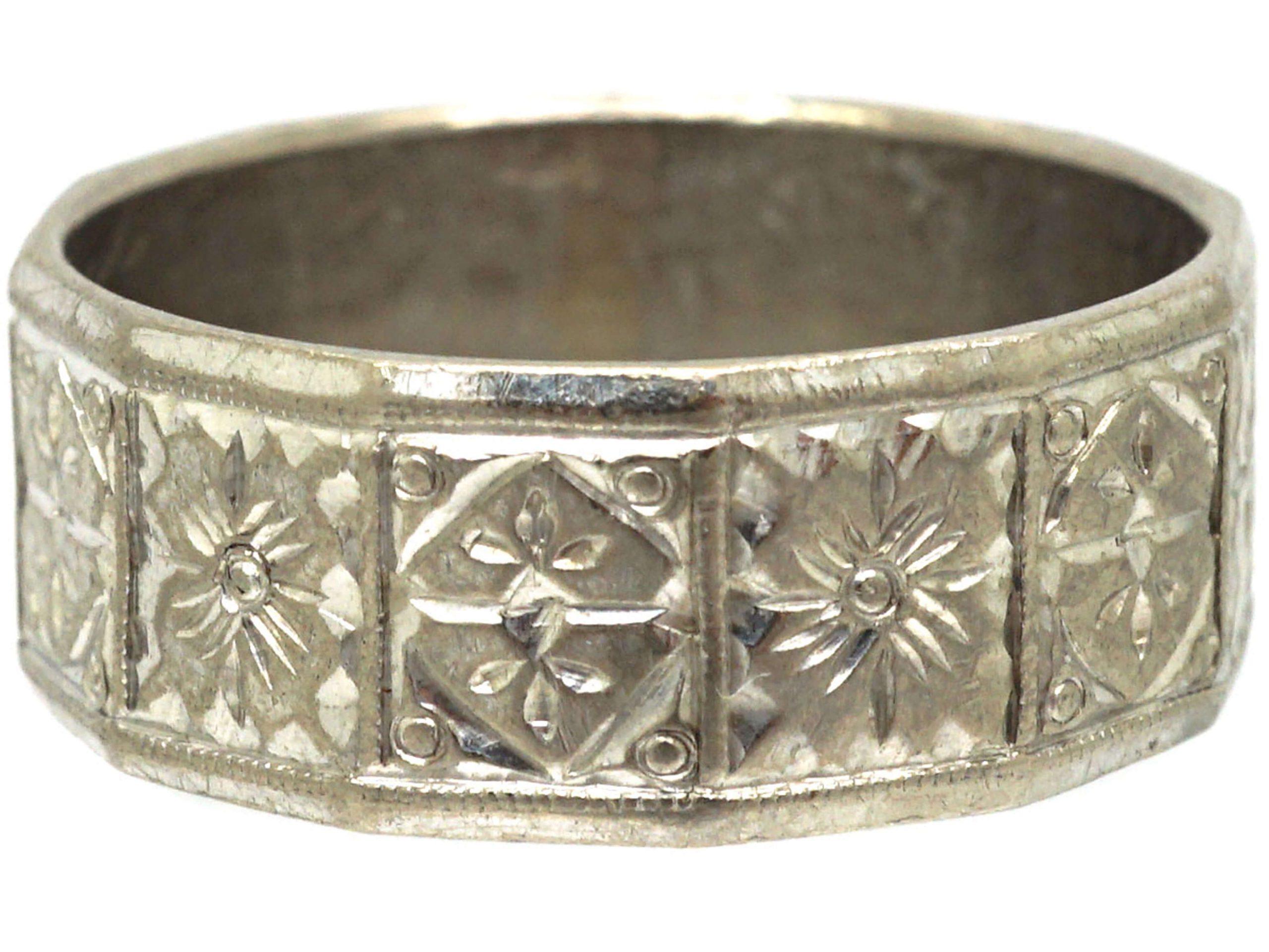 18ct White Gold Wide Wedding Ring with Flower & Diamond Motifs