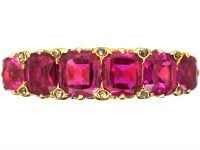 Victorian 18ct Gold, Burma Ruby Five Stone Carved Half Hoop Ring with Diamond Points