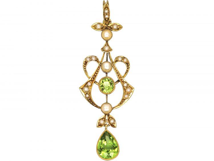 Art Nouveau 15ct Gold, Peridot & Natural Split Pearls Pendant