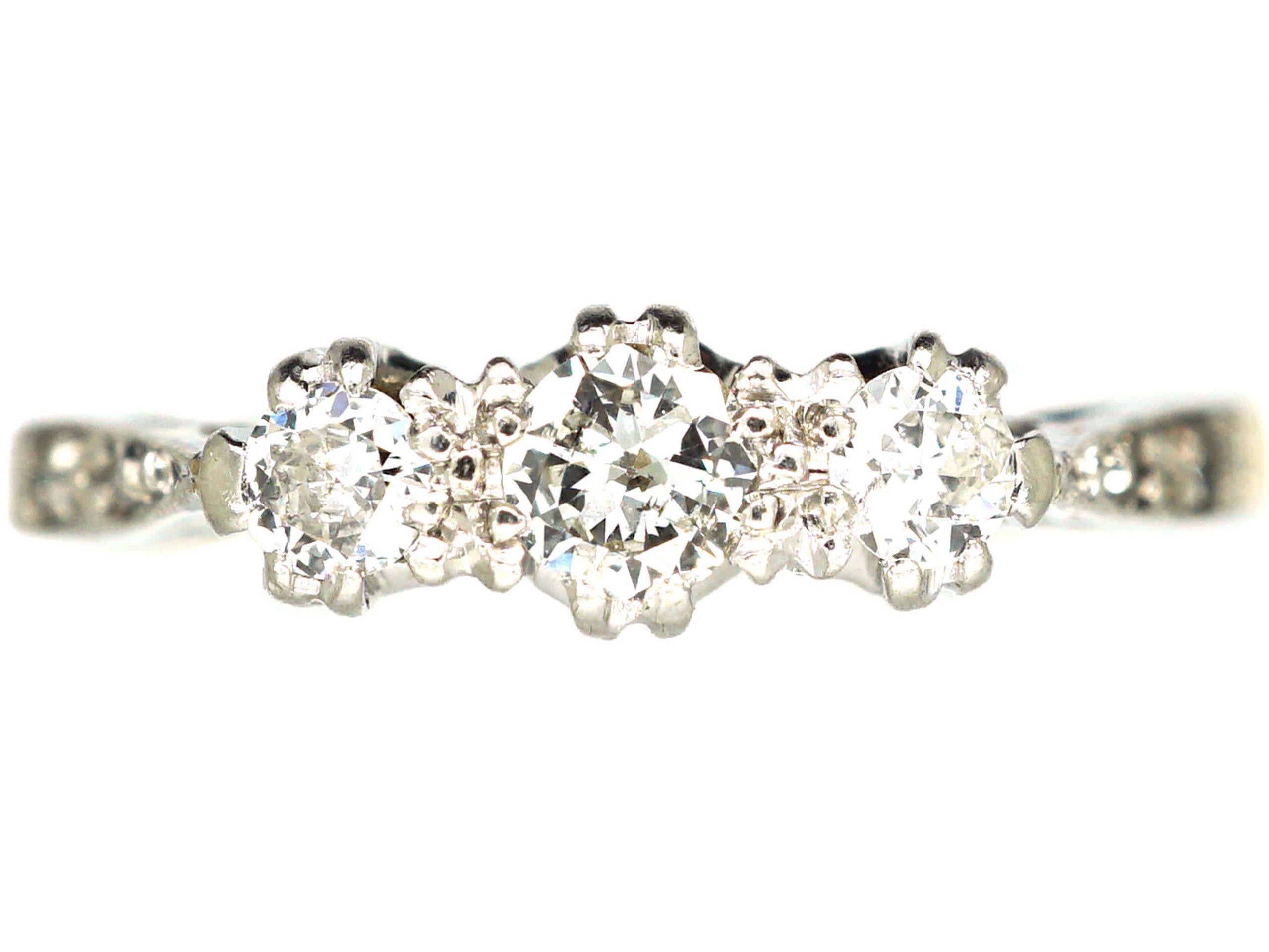 18ct Gold & Platinum, Three Stone Diamond Ring with Diamond Set Shoulders
