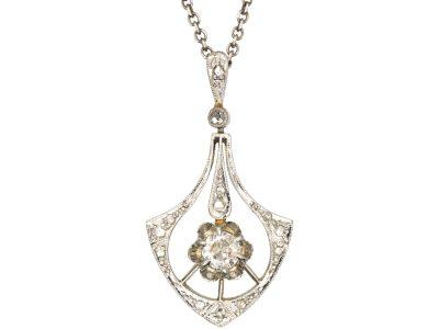 Art Deco 14ct White Gold & Diamond Pendant on Silver Chain