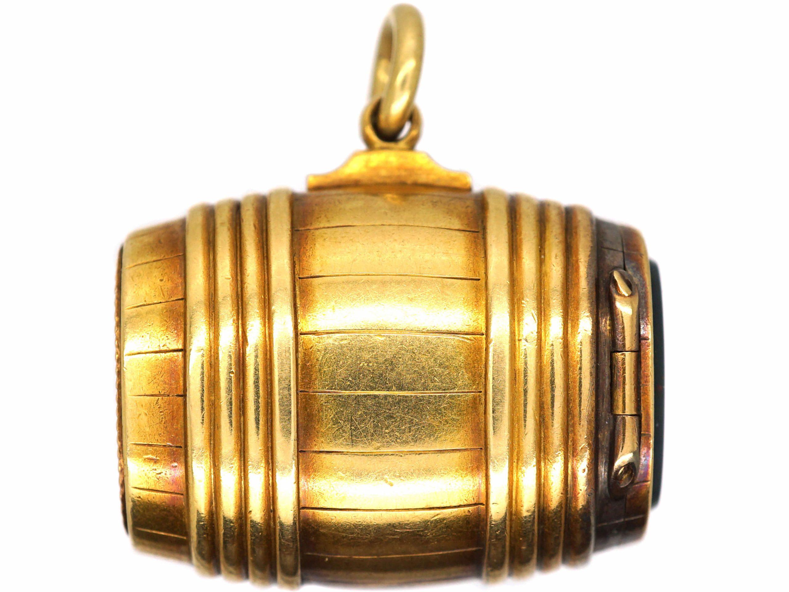 Victorian 18ct Gold Vesta Case Pendant with Bloodstone Base
