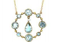 Art Deco 15ct Gold Aquamarine Pendant on 9ct Gold Chain