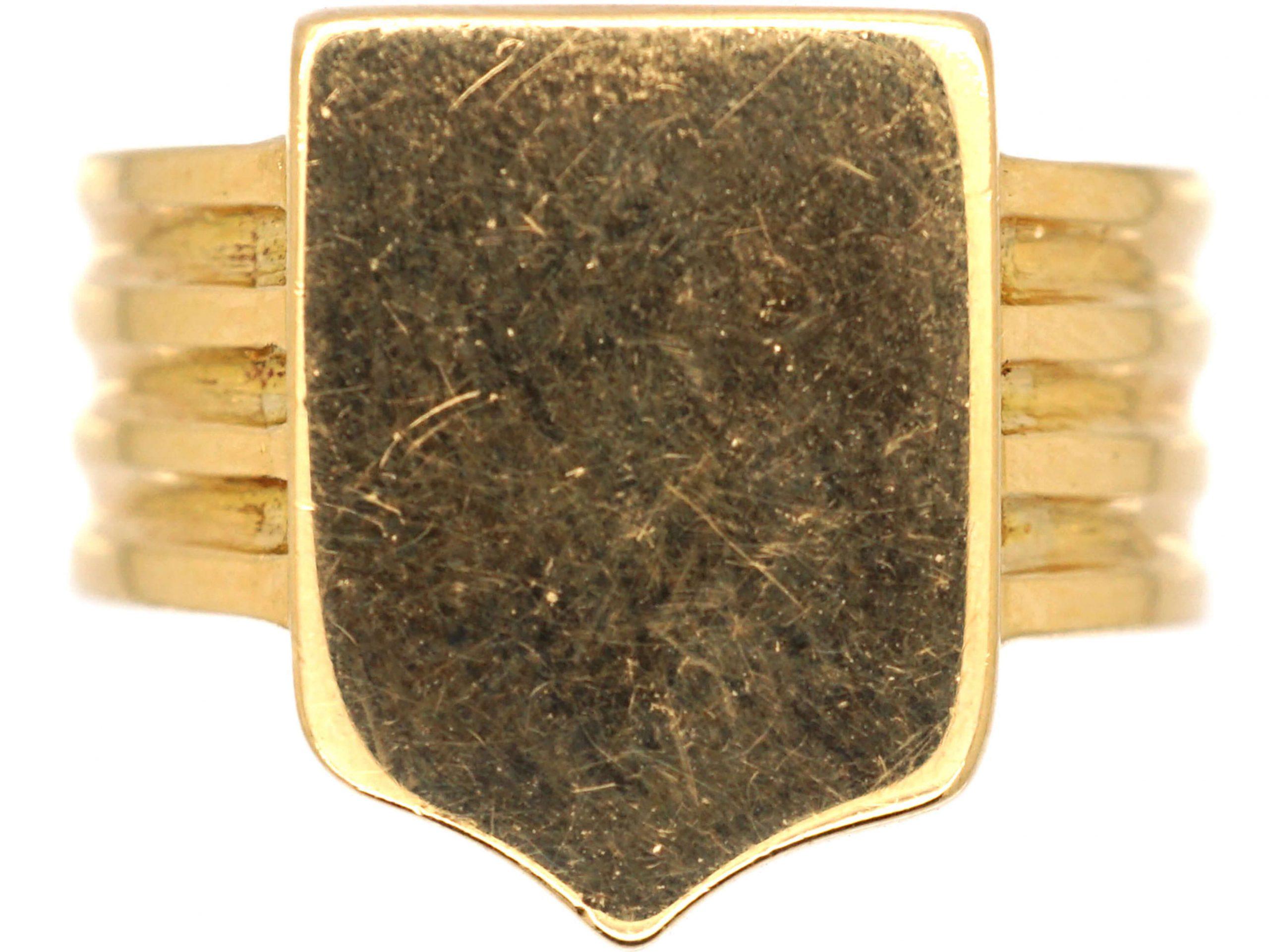Edwardian 18ct Gold Shield Shape Signet Ring