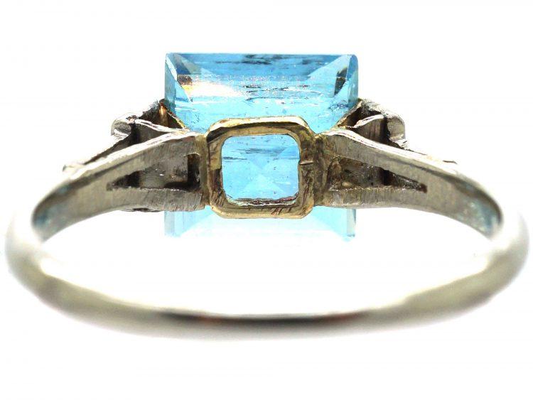 Art Deco Platinum, Baguette Diamond and Square Cut Aquamarine Ring